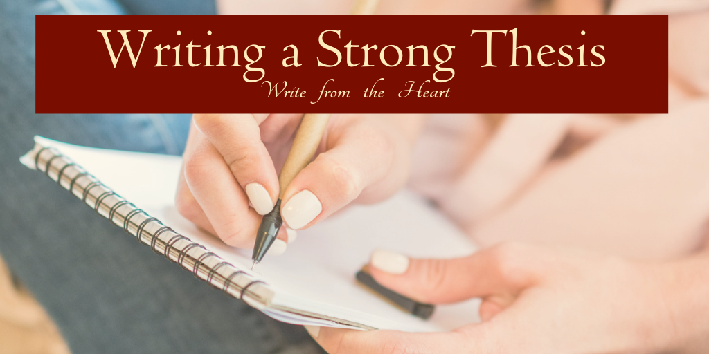 A student writing a strong thesis on a spiral-bound notebook, with the title across it.